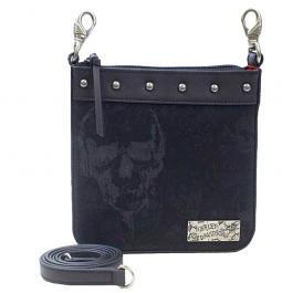 Harley-Davidson® Women's Black Skull Jacquard Deluxe Clipbag | Detachable Strap