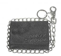 "Harley-Davidson&reg Men's Skull Tri-Fold Short Biker Wallet | Zip Coin Pocket | 19"" Biker Chain"