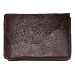 Harley-Davidson® Men's Bar & Shield Bison Tri-Fold Leather Wallet