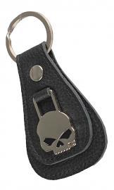 Harley-Davidson® Willie G® Skull Medallion Teardrop Key Fob   Black Leather
