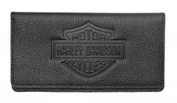 Harley-Davidson® Bar & Shield® Embossed Checkbook Cover   Black Pebbled Leather