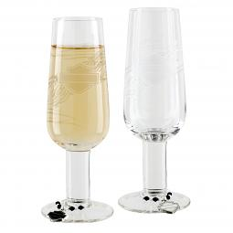 Harley-Davidson® Bar & Shield® Champagne Flutes with Charms Set