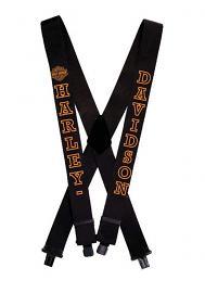 "Harley-Davidson® H-D® Script Suspenders | Black with Orange | 42"""