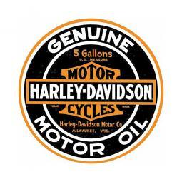 """Harley-Davidson® Bar & Shield® Genuine Motor Oil Round Tin Sign   14"""" in Diameter"""